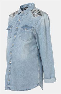 Topshop Maternity 'Lionel' Studded Denim Shirt