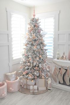 Pink Christmas- Blush pink and white flocked vintage inspired Christmas tree by Kara's Party Ideas Shabby Chic Christmas, Rustic Christmas, Vintage Christmas Trees, Christmas Tree Ideas 2018, Christmas Tables, Coastal Christmas, Modern Christmas, Christmas Design, Christmas Pictures