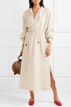 Nanushka | Tala striped cotton and linen-blend midi dress | NET-A-PORTER.COM
