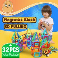 Minitudou Kids Toys 32PCS Enlighten Bricks Educational Magnetic Designer Toy Square Triangle Hexagonal 3D DIY Building Blocks(China (Mainland))