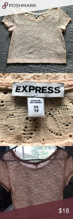 Express crop top See through crop top with floral boardings Express Tops Crop Tops