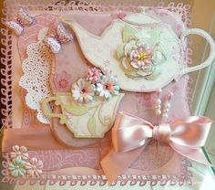 Mother's Day Afternoon <b>Tea</b> Card Ideas <b>Silhouette</b> <b>Cameo</b> Hatpins Mother Card, Mothers Day Cards, Flower Cards, Paper Flowers, Mother's Day Afternoon Tea, Shabby Chic Cards, Coffee Cards, Anna Griffin Cards, Step Cards