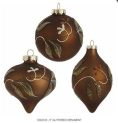 "RAZ Imports - 5"" Glass Glittered Ornament"