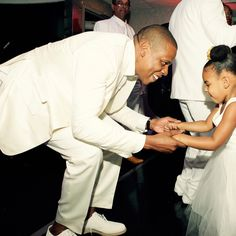 Blue Ivy Carter & her dad Jay Z at Tina Knowles & Richard Lawson wedding, 2015