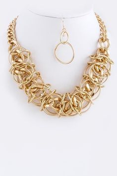 Chunky Gold Multi Chain Link Necklace Set