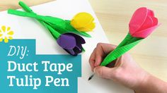 New tutorial: Duct Tape Tulip Flower Pen. Part of an Easter DIY playlist collab with Kin Community and other fun channels :) Duct Tape Pens, Duct Tape Flowers, Duct Tape Projects, Duck Tape Crafts, Diy Projects, Camping Crafts, Fun Crafts, Pen Toppers, Flower Pens