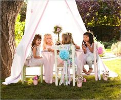 Pottery Barn Kids' garden party for girls features wreaths of flowers, tutus, and a charming canopy. Find garden party ideas that girls will love. Girls Tea Party, Princess Tea Party, Toddler Tea Party, Fairy Tea Parties, Garden Parties, Party Fiesta, Festa Party, Fairy Birthday, Tea Party Birthday