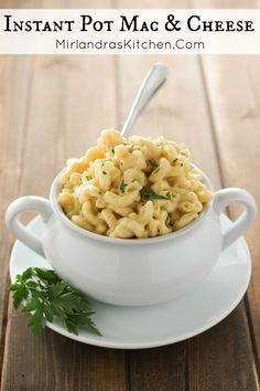 This Instant Pot Mac & Cheese is delightfully cheesy creamy and comforting. Best of all it takes a few minutes to throw it together. We serve it with brats ham and roast beef - really just about anything! Side Dish Recipes, Pasta Recipes, Holiday Recipes, Real Food Recipes, Great Recipes, Vegetarian Recipes, Dinner Recipes, Amazing Recipes, Interesting Recipes