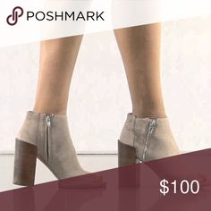 """Dolce Vita Suede """"Mercy"""" Booties Dolce Vita Suede """"Mercy"""" Open Toe Stacked Heel Ankle Boots with decorative exposed zipper. Size 8.5. NIB. 4"""" heel. 5 1/2"""" boot shaft. Side zip closure. Please send reasonable offers through the offer button! Dolce Vita Shoes Ankle Boots & Booties"""