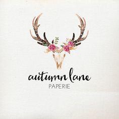 Premade Logo Design Rustic Deer Antler Skull by AutumnLanePaperie