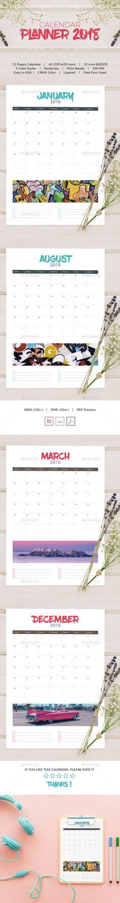Wall Calendar 2018 Calendar 2018, Template and Walls - indesign calendar template