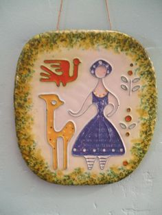 Hungarian Ceramic Wall Hanging/Plaque Girl with by BlitheSpiritToo