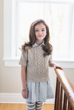 Berenice Short-Sleeved Lace Cable Top from Brooklyn Tweed Kids Brooklyn Tweed, Summer Sweaters, Baby Sweaters, Knitting For Kids, Baby Knitting, Kids Patterns, Knitting Patterns, How To Purl Knit, Knit Purl