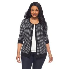 Women's Plus Size 3/4 Sleeve Crew Neck Cardigan Sweater