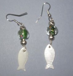 Pretty White Shell Fish Earrings Free US SHipping