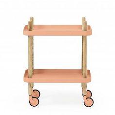 Bijzettafel Block koraal roze staal hout 35x64x50cm