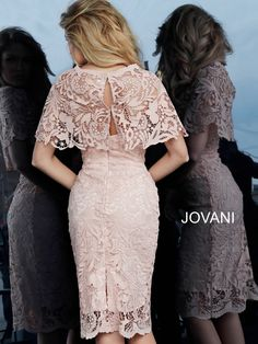 Jovani 1401 Knee length form fitting light pink lace cocktail dress 1401 with cape over shoulders features strapless bodice with sweetheart neckline. Elegant Dresses, Sexy Dresses, Pretty Dresses, Vintage Dresses, Dress Outfits, Evening Dresses, Casual Dresses, Short Dresses, Fashion Dresses