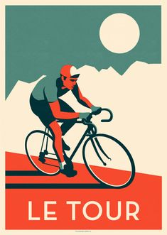 Illustrated vintage style poster celebrating of the worlds most famous cycling challenge, Le Tour De France. Cycle Drawing, Bike Drawing, Bicycle Illustration, Illustration Art, Bike Poster, Bicycle Art, Hippie Art, Cycling Art, Illustrations Posters