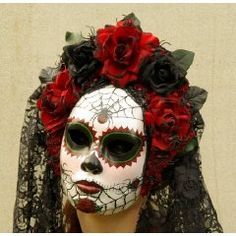 Viuda Negra Mask, Day of the Dead full faced mask with headdress, burnt silk roses, and trailing lac Uñas Acrilicas ? Costume Halloween, Celebrity Halloween Costumes, Skeleton Costumes, Halloween Fashion, Sugar Skull Halloween, Holidays Halloween, Halloween Fun, Halloween Decorations, Halloween Entryway