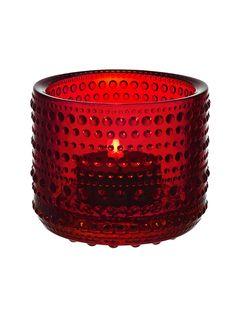 Iittala Kastehelmi candle holder tea light holder Cranberry red by AlohaSparklingJewels on Etsy
