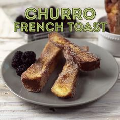 Brioche bread cut into thick churro like sticks, pan fried until they're perfectly crisp, and rolled in cinnamon sugar. You won't be able to resist this sweet breakfast!