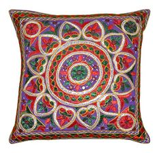 Amazon.com - Handmade Embroidered and Mirror Work Indian Cotton Throw Pillow Cushion Covers 16 X 16 Inches Set of 5 Pcs -