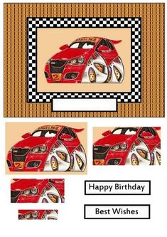 VOITURE ROUGE - 3D card topper