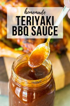 This recipe for Teriyaki BBQ Sauce is the perfect, kid-friendly BBQ sauce to have on hand for family get-togethers and weekday dinners. Best slathered on chicken and completely amazing with kabobs, it'll likely become your go-to BBQ sauce when you want so Homemade Bbq Sauce Recipe, Barbecue Sauce Recipes, Grilling Recipes, Bbq Sauces, Smoker Recipes, Rib Recipes, Kabob Sauce Recipe, Relish Recipes, Grilling Tips