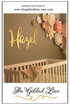 This large gold painted name sign looks amazing in this nursery. The paper flowers give it that dash of class! Nursery Room Decor, Nursery Ideas, Painted Name Signs, Gold Paper, Looking Stunning, Baby Things, Wall Colors, Wall Signs, Laser Cutting