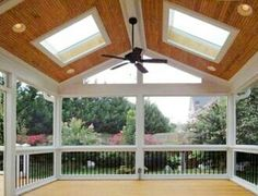 Skylights in screened in porch