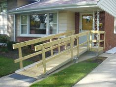 wheelchair ramps from mobile home Wheelchair Ramp, Mobile Home, View Source, Porch Swing, Outdoor Furniture, Outdoor Decor, Future House, Patio, Building