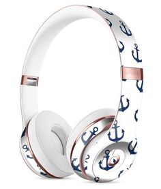 White and Navy Micro Anchors Full-Body Skin Kit for the Beats by Dre Solo 3 Wireless Headphones