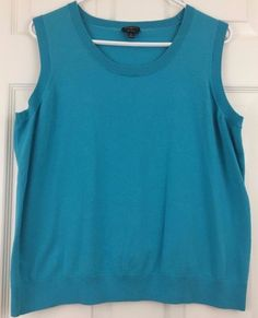 Talbots Sleeveless Sweater Shell Pima Cotton Teal Size 2X Scoop Neck Wider Strap #Talbots #ScoopNeck #CasualCareer