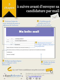"""# Candidature #Mail #Conseil: Vous venez de lire l'annonce d'écrivant le job de vos rêves. Muni de votre CV et de votre lettre de motivation, vous vous apprêtez à envoyer votre candidature. Une minute ! Prenez le temps de vérifier ces cinq étapes avant de cliquer sur """"envoyer"""":"""