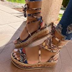 Descriptions: Upper Material: PU Occasion: Daily,Casual Toe Shape: Open Toe Closure Type: Lace-up Heel Height: Flat Heel Type: Chunky Heel Season: Spring/Autum Lace Up Sandals, Lace Up Heels, Flat Sandals, Summer Sandals, Shoes Sandals, Summer Feet, Clogs Shoes, Women Sandals, Summer Shoes