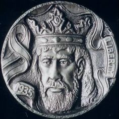 Hobo nickel: Steve Adams' whimsical King Arthur fetched $2,750 at the 2006 OHNS auction, held in conjunction with the Florida United Numismatists show in January. Two of his pieces outpriced the best Bert's and Bo's that were offered for sale this year. (Photo: Stephen Alpert)