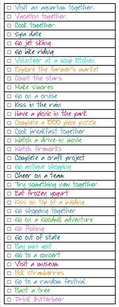 Dating Bucket List… check off the things you've done together. Dating Bucket List… check off the things you've done together. Relationship Bucket List, Relationship Advice, Paar Bucket Listen, Cute Date Ideas, Fun Ideas, Together Lets, Good Dates, Cute Relationships, Married Life