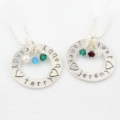 Family Birthstone Hand Stamped Washer Necklace $42