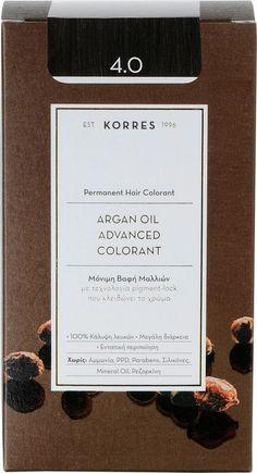 Korres Argan Oil Advanced Permanent Hair Colorant Dye,Ammonia-free Demi Permanent, Permanent Hair Color, Mineral Oil, Argan Oil, Dyed Hair, Cards Against Humanity, Cosmetics, Free, Packaging