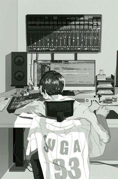 Ce fan art résume assez bien le rôle de Suga dans le groupe, il est compositeur, chanteur et producteur.