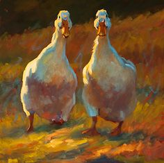 Dawdling Ducks by Cheri Christensen Oil ~ 18 x 18