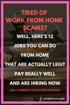13 Best Work from Home Jobs that Hire Fast & Pay Good - Luster Lexicon Does making a liveable income online sound good to you? These are the 13 best work from home jobs that hire fast and pay good in Work From Home Companies, Online Jobs From Home, Work From Home Opportunities, Home Jobs, Ways To Earn Money, Earn Money From Home, Earn Money Online, Way To Make Money, Legit Work From Home