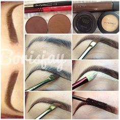 Grab a small very small amount of dipdown onto macs #266 brush then outline/trace the bottom of your brown. Using the same brush just clean it off, use an eyeshadow about a shade or two lighter then your hair and fill it in. Using another eyeshadow in a shade darker than the first (I use brown down) fill only half of the eyebrow starting from the bottom up, just half way to blend the dipdown to your brow! using a concealer carve out your brown then blend out the concealer