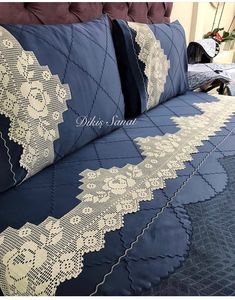 Linen Bedding, Bedding Sets, Crochet Home Decor, Shirt Embroidery, Decorative Pillow Covers, Bed Covers, Pillow Design, Cottage Style, Boho Decor