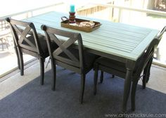 Patio Table Re-do - Side View - Duck Egg Blue Chalk Paint - artsychicksrule.com #chalkpaint #duckeggblue #graphite