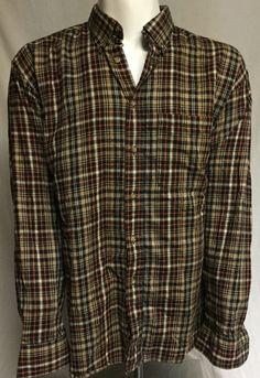 Cabelas Brown Red Plaid X-Large Tall Long Sleeve Button Front Shirt XLT #Cabelas #ButtonFront