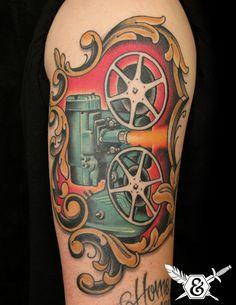 Film Projector Tattoo by Russ Abbott #tattoos #oldschool #movieprojector http://tattoopics.org/film-projector-tattoo-by-russ-abbott/