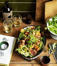 Frisée salad with roasted figs and pancetta croûtons recipe   Alice Waters recipe - Gourmet Traveller