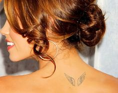 100 Really Cute Small Girly Tattoos - Laughtard Wing Neck Tattoo, Wing Tattoos On Back, Back Tattoo, Small Wing Tattoos, Small Girly Tattoos, Trendy Tattoos, Hip Tattoos, Stomach Tattoos, Celtic Tattoos