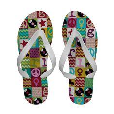 patch girl flip flops #sharonturner #girl #summer #zazzle